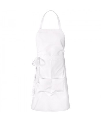 Tablier noeud et poche Blanc