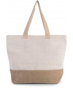 Sac de shopping fourre-tout esprit rustique-500grm2- 52 x 40 x 16 cm- en toile de coton et jute-Sacpub