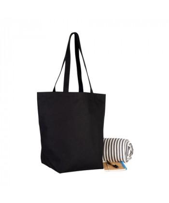 Sac coton noir soufflet 45x37 - Sacpub