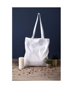 Sac coton BIO Blanc Anses longues 38x42 - tote bag bio imprimé en France par Sacpub
